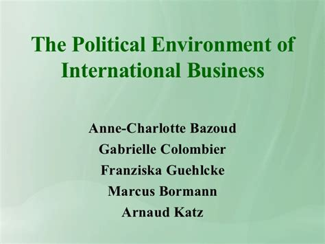 the environment of business political environment