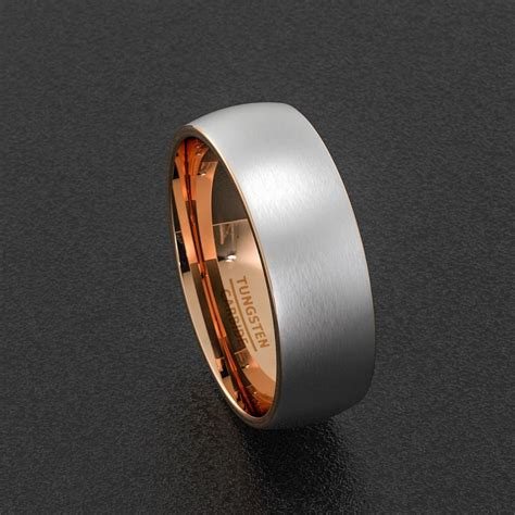 mens wedding band tungsten ring two tone 8mm brush matte
