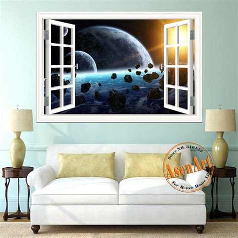 Aliexpress Home Decor 3d Galaxy Wall Sticker Outer Space Planet Stickers Removable Wallpaper 3d Window Scenery Wall