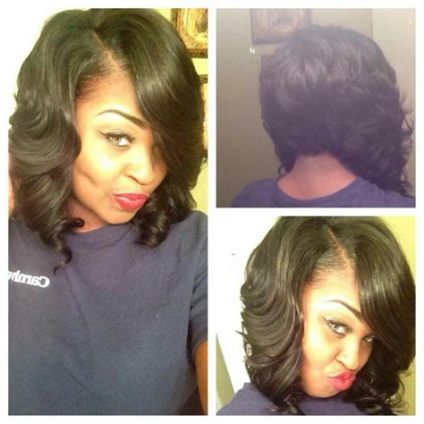 pics of bump feather sew in 8 inch bob weave short hairstyle 2013