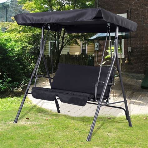 Patio Swing Chair Garden Swing Seat 2 3 Seater Hammock Outdoor Swinging Bench Cushion Chair Patio Black Free