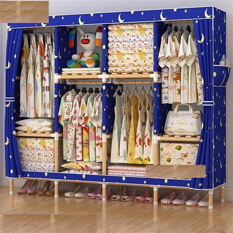 Lemari Buku Rak Ambalan Sprei Baju Pakaian Tempat Portable Import Sale jual lemari rak baju non woven kanvas kayu storage rak pakaian kuat grosir and made
