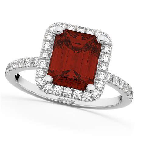 emerald cut garnet engagement ring 18k white