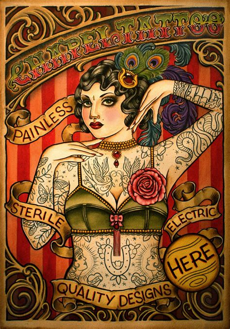 tattoo parlor reading pennywhistles and moonpies chapel tattoo sideshow poster
