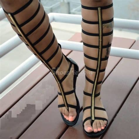 high flat shoes shoespie cut out zipper knee high flat gladiator sandals