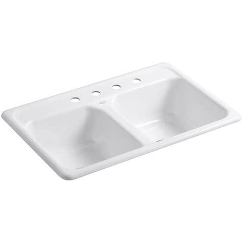 Throw The Kitchen Sink Kohler Delafield Drop In Cast Iron 33 In 4 Basin Kitchen Sink In White K 5817 4 0