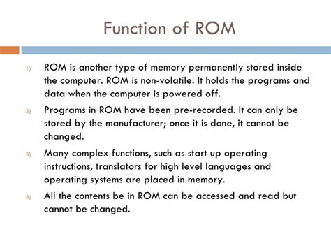 function of rom and ram primary storage