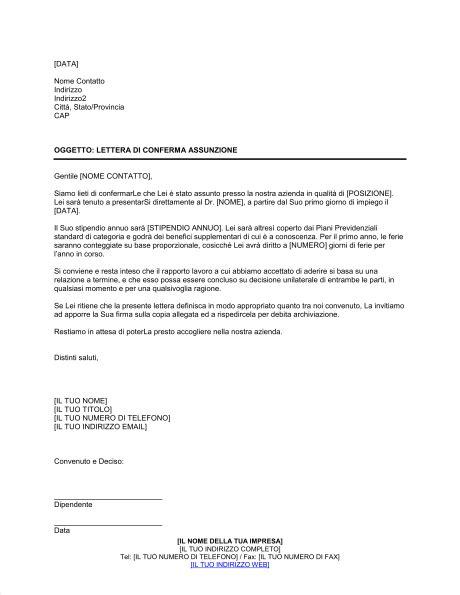 lettere di assunzione modelli lettera di conferma assunzione modelli e esempi di