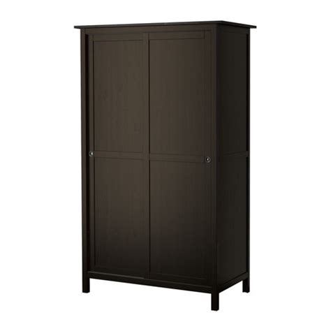 hemnes wardrobe with 2 sliding doors black brown ikea
