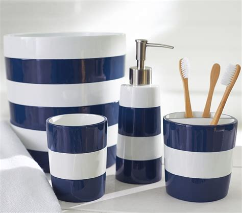 blue and white striped bathroom accessories bathroom