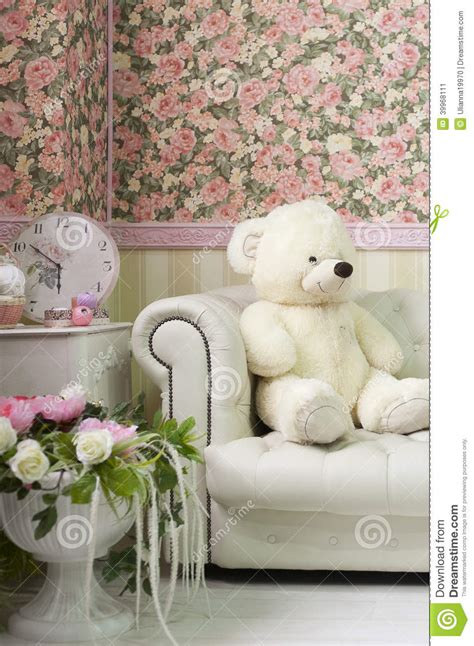 Decorate Vase Living Room Interior Corner With Teddy Bear Wall Paper