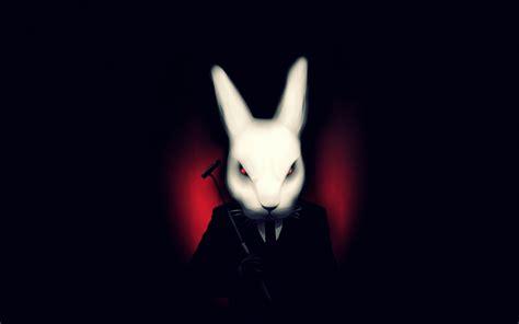black and white rabbit wallpaper art misfits black background rabbit white suit vire