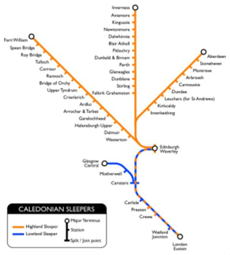 Caledonian Sleeper Route Map by Caledonian Sleeper Trains