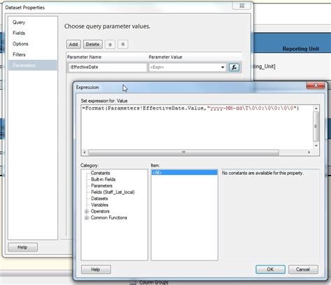 format date parameter in ssrs reporting services ssrs caching a shared oracle dataset