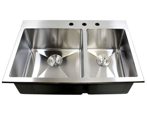 33 inch top mount drop in stainless steel double bowl