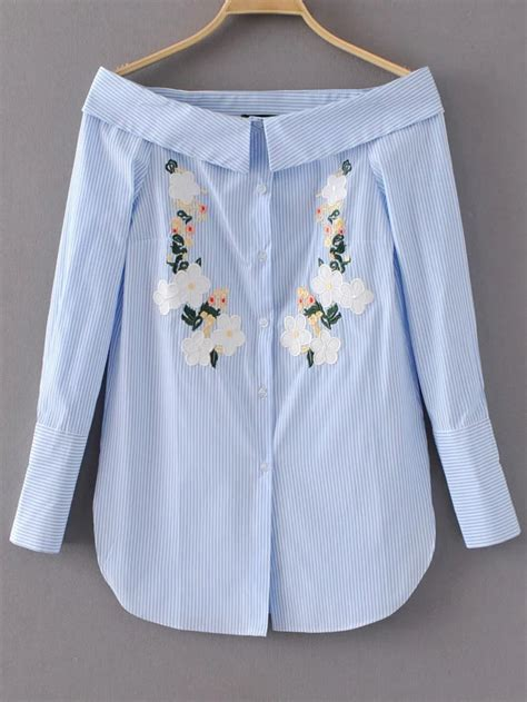 43509 Blue Striped Embriodery Blouse bardot vertical striped flower embroidery blouse shein