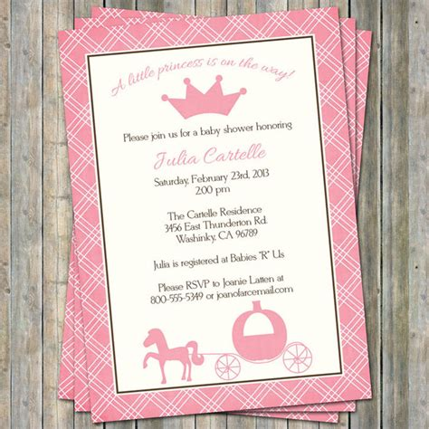 Princess Baby Shower Invitations Digital Printable File Princess Baby Shower Invitation Templates Free