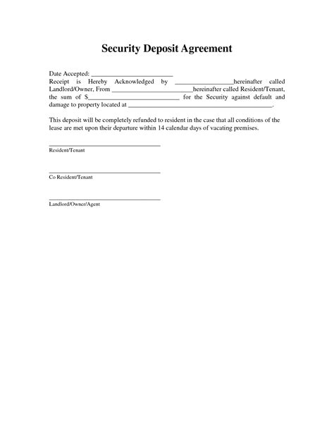 security deposit agreement template best photos of rental security deposit rent and security