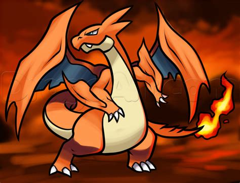 Charizard Y Drawing by How To Draw Mega Charizard Step By Step