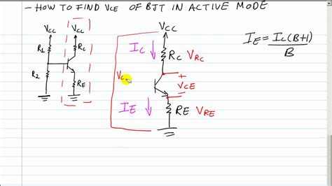 how to calculate resistor for transistor bjt q point formula for vce voltage from the collector to the emitter