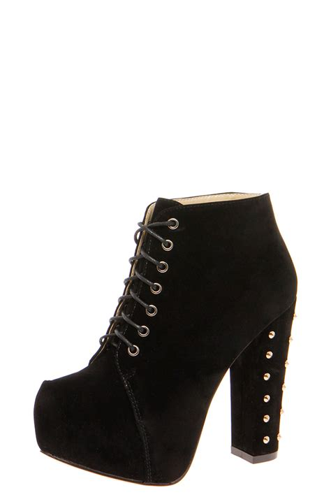 shoe boots boohoo womens zina black studded block heel lace up
