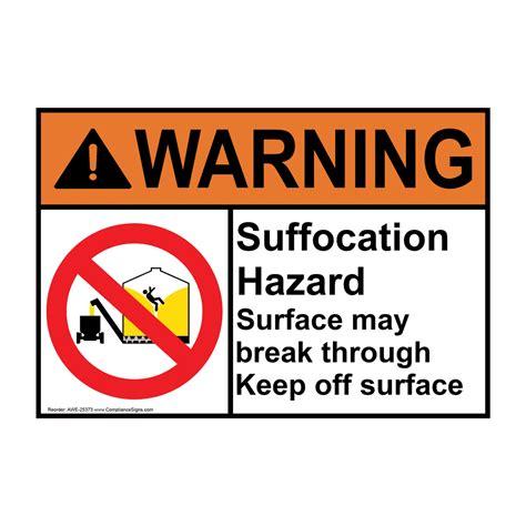 Ansi Warning Suffocation Hazard Sign With Symbol Awe 25373 Agricultural Grain Bin Silo Suffocation Warning Template