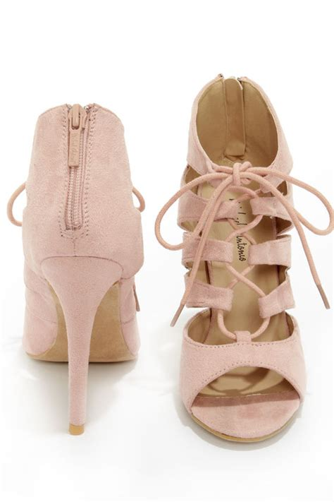 chagne colored wedges blush shoes peep toe heels lace up heels 59 00