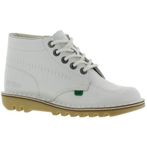 kickers kick hi womens white leather ankle boots ebay