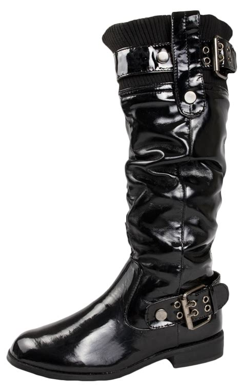 wide biker boots womens knee high biker boots wide calf faux patent leather