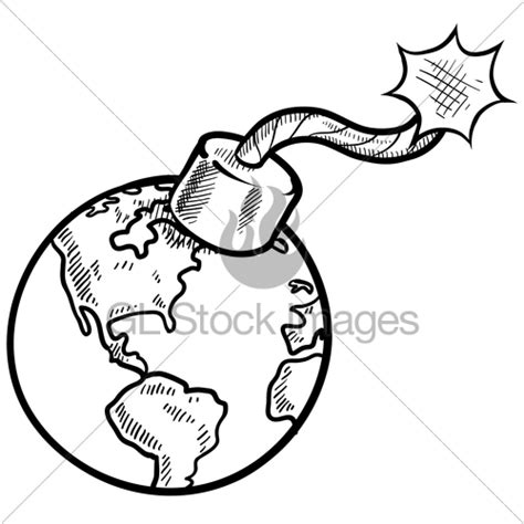 doodle nuclear bomb global time bomb sketch 183 gl stock images