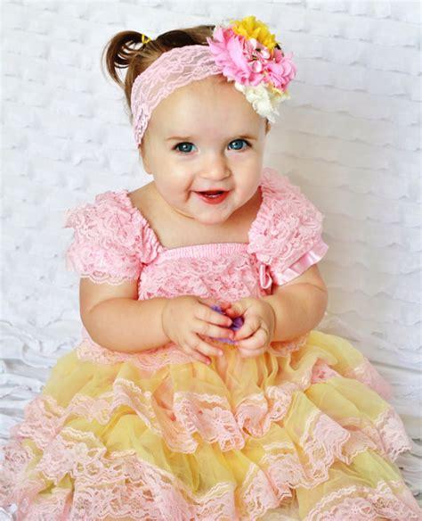 Gamis Set Baby Pink pink yellow lace baby dress headband set toddler dress