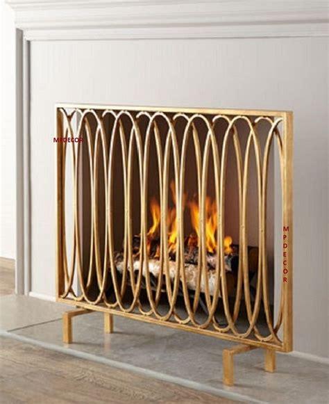 Gold Fireplace Screens by Modern Geometric Oval Loops Fireplace Screen Flat