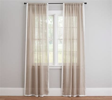 sheer curtains pottery barn linen border sheer drape pottery barn