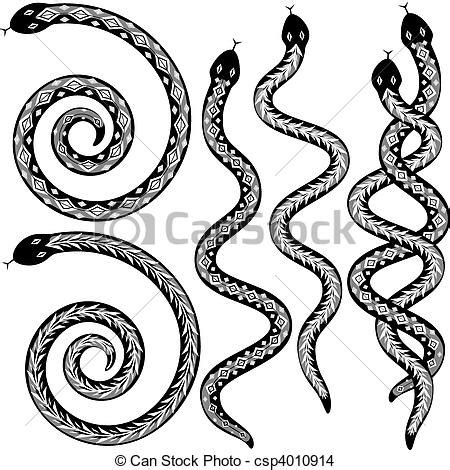 snake designs set of editable vector snakes designs black