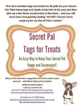 secret pal ideas secret pal tags and notes and choose to make your