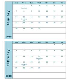 Calendar 2 Months Per Page 2018 Calendar Template Two Months Per Page Free