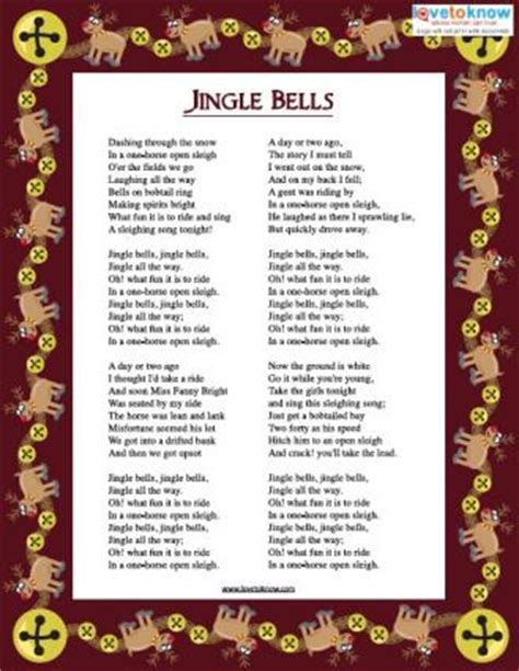 printable version of jingle bells printable christmas carols lovetoknow