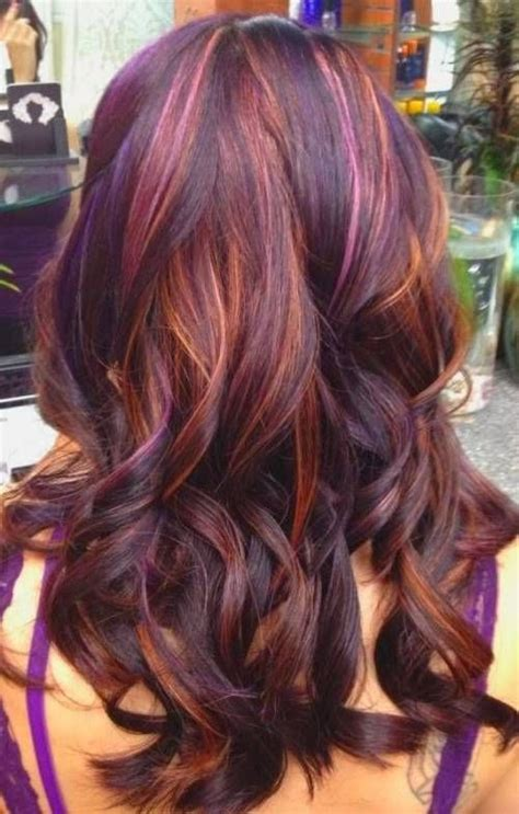 multiple highlights for brown hair dark brown hairstyles with plum highlights
