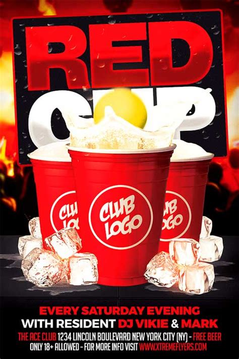 Red Cup Party Flyer Template Xtremeflyers Free Pong Flyer Template