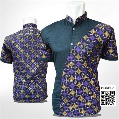 Kemeja Batik Pria Lengan Pendek 39 Jual Kemeja Batik Kapucino Batik Pria Kombinasi Ungu Hitam