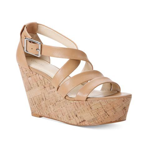 calvin klein wedge sandals calvin klein vonnie platform wedge sandals in lyst
