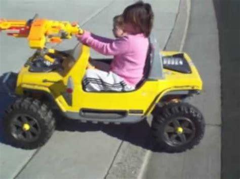 nerf gun jeep and baby stewie power wheel jeep with belt fed machine