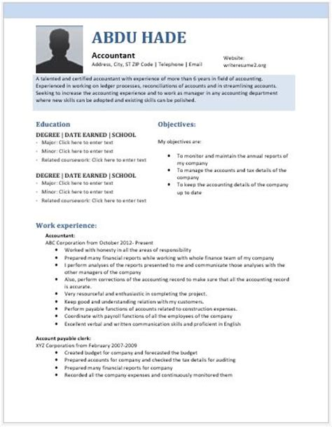 odt resume template senior accountant resume contents layouts templates