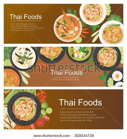Vector Illustration Design Of Asian Food Thai Food Banner Top View Horizontal Realistic Food Banner Design Template Free