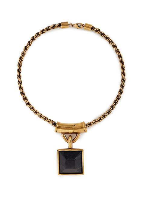 mcqueen tiger eye square pendant necklace in