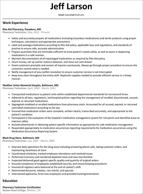 pharmacy technician resume examples prettify co