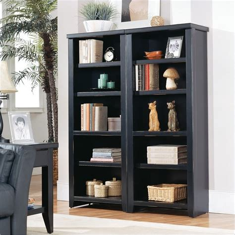 Black Bookshelf Kathy Ireland Home By Martin Furniture Tribeca Loft Black