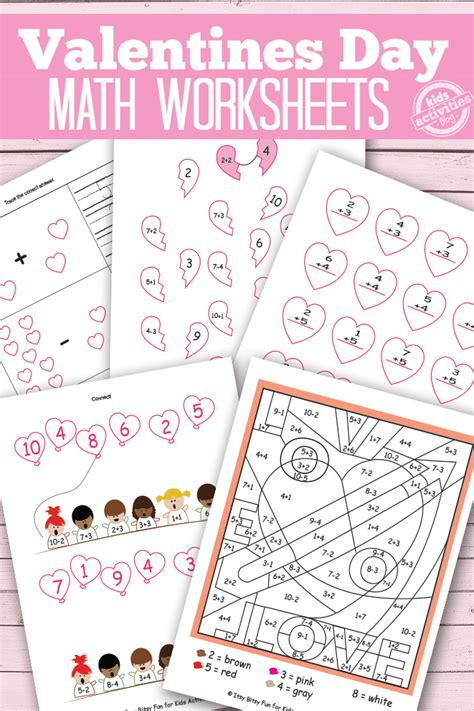 free printable worksheets valentine s day valentines day math worksheets free kids printables