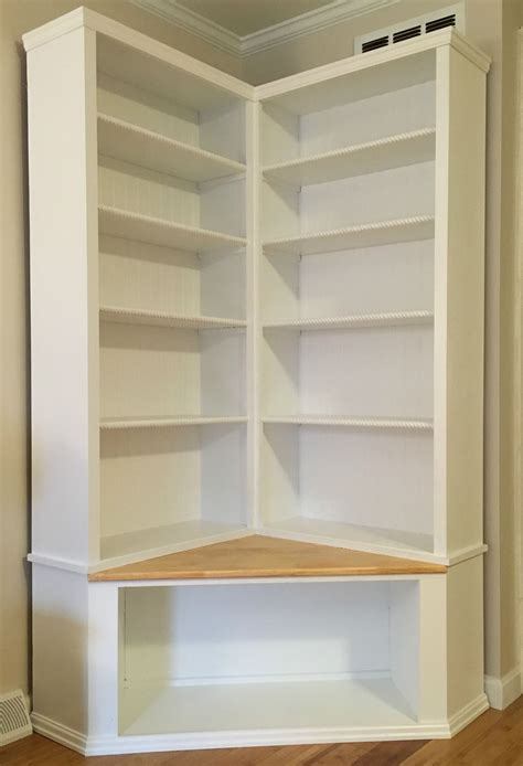 custom made shabby chic corner bookcase with seat to