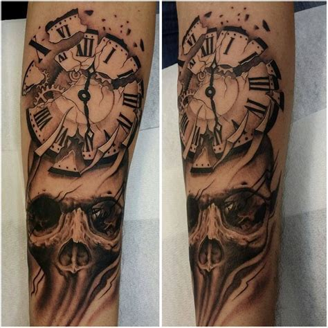 skull and clock tattoo clock and skull ideas clocks